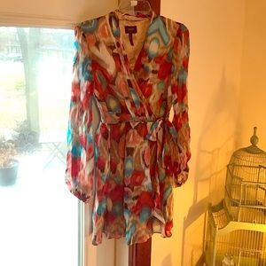 Laundry by Shelli Segal Dresses & Skirts - Laundry wrap silk dress beige red teal sz 4