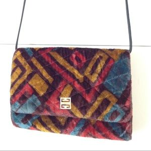 GIVENCHY Rare quilted velvet print holiday purse