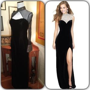 Dresses & Skirts - Custom Velvet Gown w/Rhinestone cuff & collar