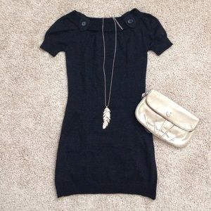 Black Sweater Tunic with Short Sleeves