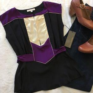 Corey Lynn Calter silk colorblock silk tieback top