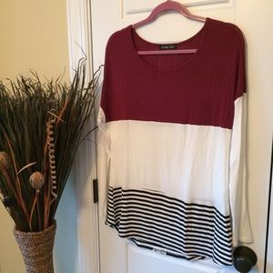 Boutique Color Block Tunic Top w/Lace Appliqué