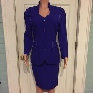 Lillie Rubin Vintage Dresses & Skirts - Vintage Couture Purple Beaded Suit with Skirt 8(M)