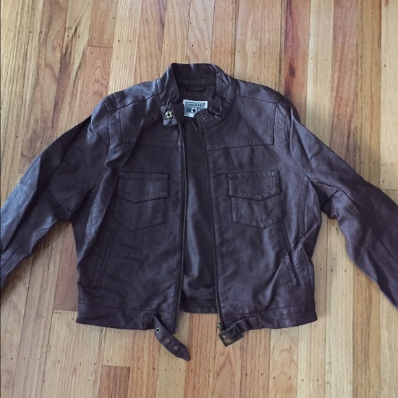 f89558d94ec Converse Jackets   Blazers - Converse All Star Brown Faux Leather Jacket