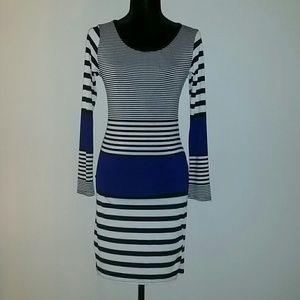 Missguided Dresses & Skirts - Black/White/Blue Bodycon Dress