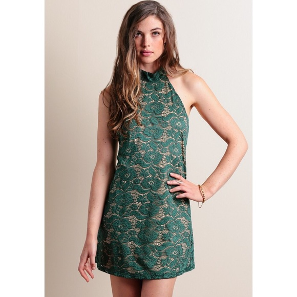 Dresses & Skirts - Green Nude Lace Overlay Backless Halter Dress
