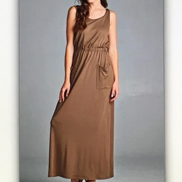 👝Light brown👝sleeveless maxi dress