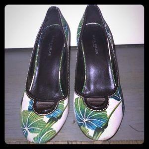 Karen Millen Shoes - Karen Millen green blue white floral canvas heels