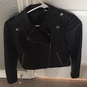 Sparkle and fade black leather moto jacket xs