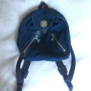 Kipling Handbags - Small Dark blue Kipling Fundamental backpack w/zip