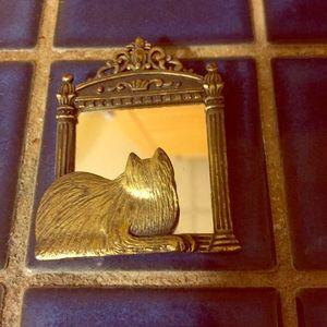 Vintage Jewelry - Vintage Brass/Gold Cat in Mirror Unique Brooch