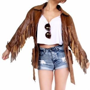 Vintage Jackets & Blazers - Vintage leather fringe jacket
