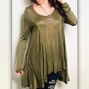 👒Olive green👒long sleeve blouse