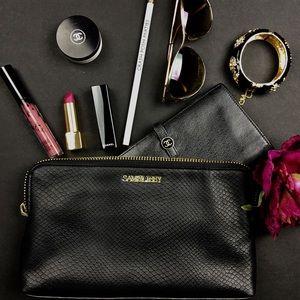 Sam & Libby Handbags - Sam & Libby Black Faux Snakeskin Clutch