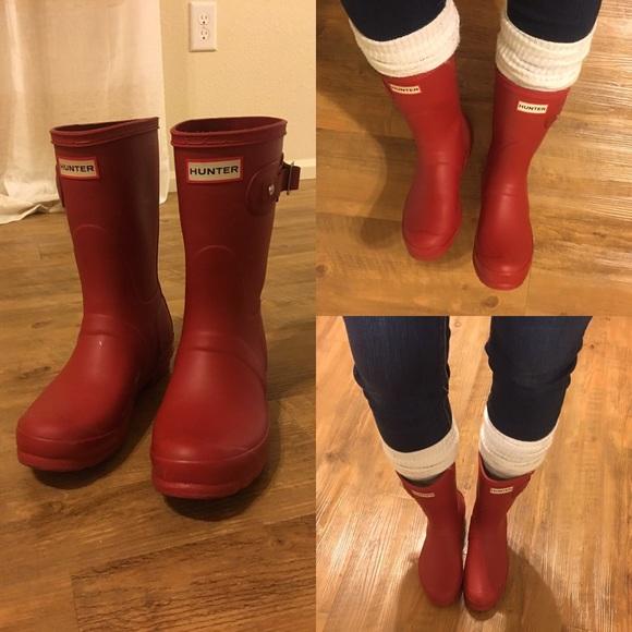 Matte Red Short Hunter Rain Boots