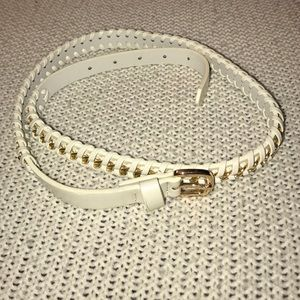 Forever 21 White & Gold Faux Leather Belt SM