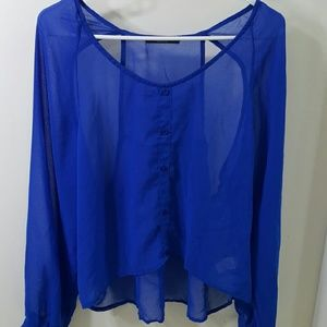 Brandy Melville Tops - Brandy Melville Blue See Through Button Up HiLo