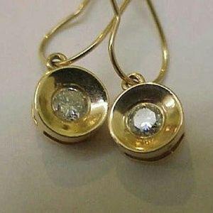 Jewelry - Unique Art deco 14k gold  .25ct diamond earrings