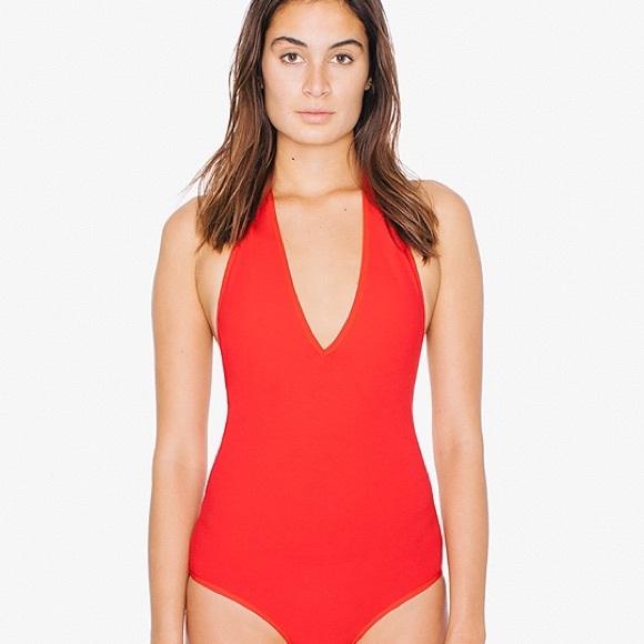 American Apparel Tops - NWT American Apparel Red Halter Bodysuit ff514357f