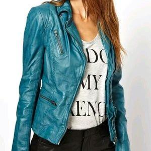 Muubaa Jackets & Blazers - MUUBAA Sirius teal leather jacket free people us 4