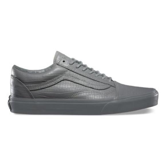 vans old skool croc leather grey