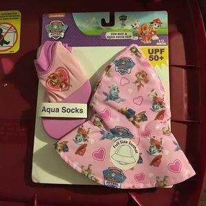 Nickelodeon Other - NWT Paw Patrol Sun Hat Aqua Sock Set 0-12M UPF 50+