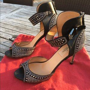 Valentino Shoes - Valentino Stud Black Leather Peep-Toe Heels 38