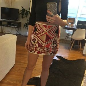 Topshop PETITE Dresses & Skirts - Topshop Mini Skirt w/ Aztec Embroidery - 2
