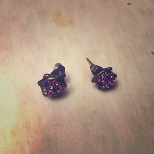 Turtle Earrings with colored rhinestones