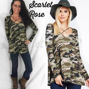 Scarlet Rose Boutique Tops - 🌹Camo Criss Cross Front Long Sleeve Tops🌹