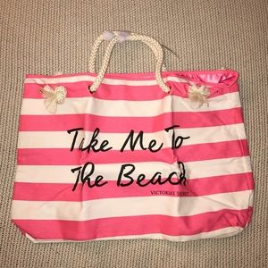 Victoria's Secret Pink & White Striped Tote Bag
