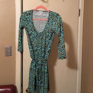 Mud Pie Dresses & Skirts - Turquoise leopard print dress