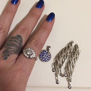 Sterling silver imperfect pieces 2 rings 1 pendant