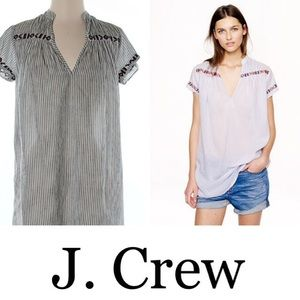 J. Crew Tops - J. Crew Contrast-embroidered stripe tunic