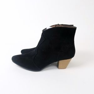 Qupid Shoes - Black faux suede western ankle booties