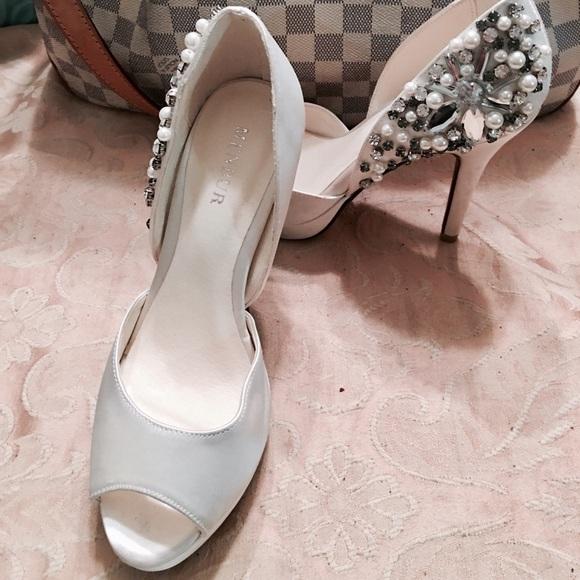 aacd4932ec Menbur Shoes | Dressy Bridal Crystal Bead Peep Toe Pumps | Poshmark