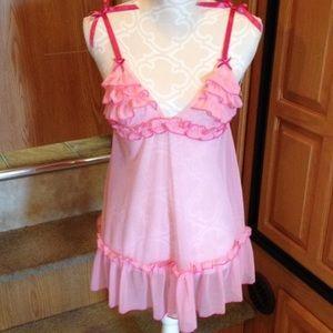 Rene Rofe Other - Rene Rofe Lingerie Pink Ruffle Babydoll O/S