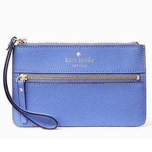 kate spade Handbags - Kate Spade Mikas Pond Bee Wristlet Blue Delphinium