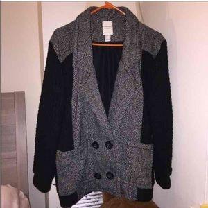Grey big pockets sweater coat