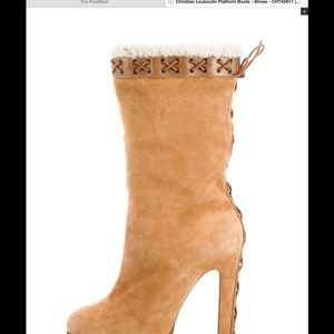Lovely CHRISTIAN LOUBITIN mid calf suede boots