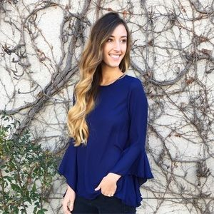 | new | blue flutter sleeve blouse