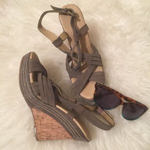 Restricted Shoes - Green  Suede Strappy Wedge Cork Heels