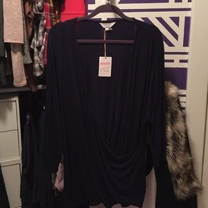 Simply Be Tops - Plus size 3/4 sleeve navy blue top