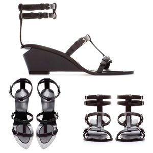 Zara Leather Gladiator Heel Strap Ankle Sandal