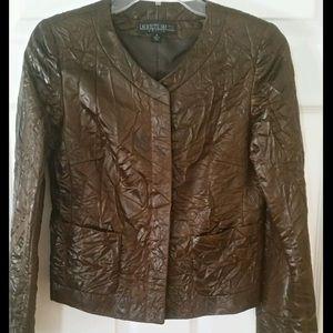 Lafayette 148 New York Jackets & Blazers - LAFAYETTE 148 Brown Crinkled Faux Leather Coat
