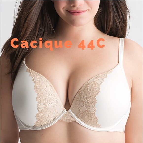 b3923596c2b01 CACIQUE Smooth Boost Plunge Bra Sugar w Cafe Lace