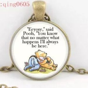 Pooh & Eeyore Quote Glass & Brass Necklace