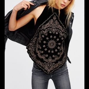 FREE PEOPLE BANDANNA BLING TOP