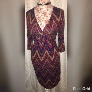Snap Dresses & Skirts - NWOT SNAP ❤️BURGUNDY ZIG ZAG DRESS SZ MEDIUM❤