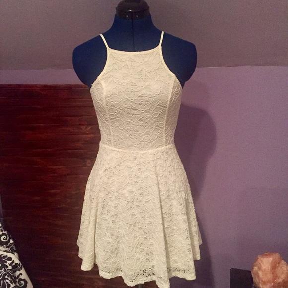111f93af5 Abercrombie & Fitch Dresses | Af High Neck Lace White Skater Dress ...